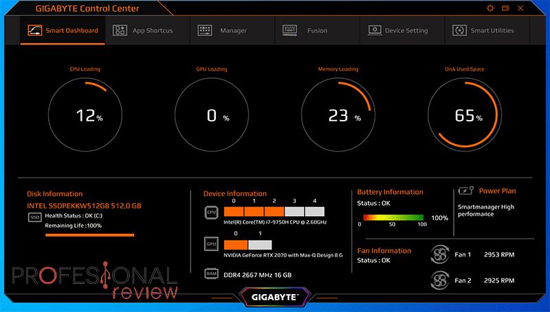 Gigabyte AERO 15 OLED Software