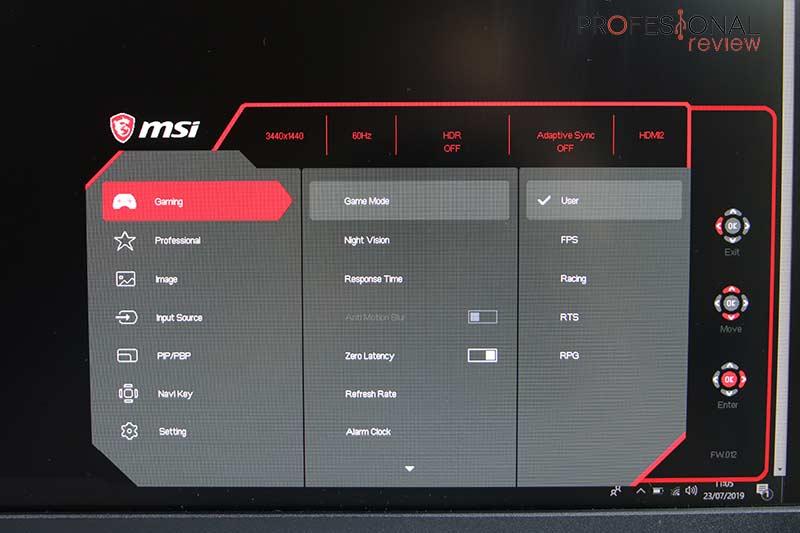 MSI Optix MPG341CQR OSD