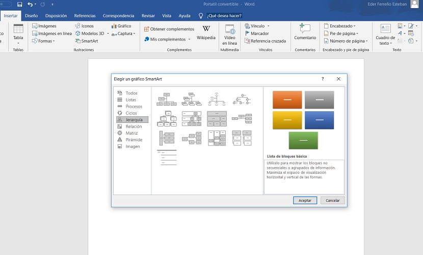 Word crear organigrama