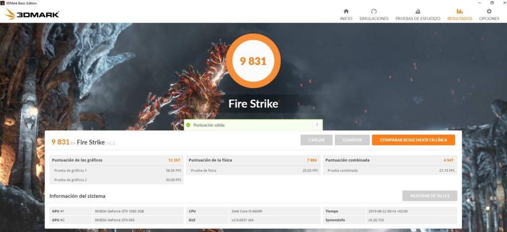 Resultado en Fire Strike