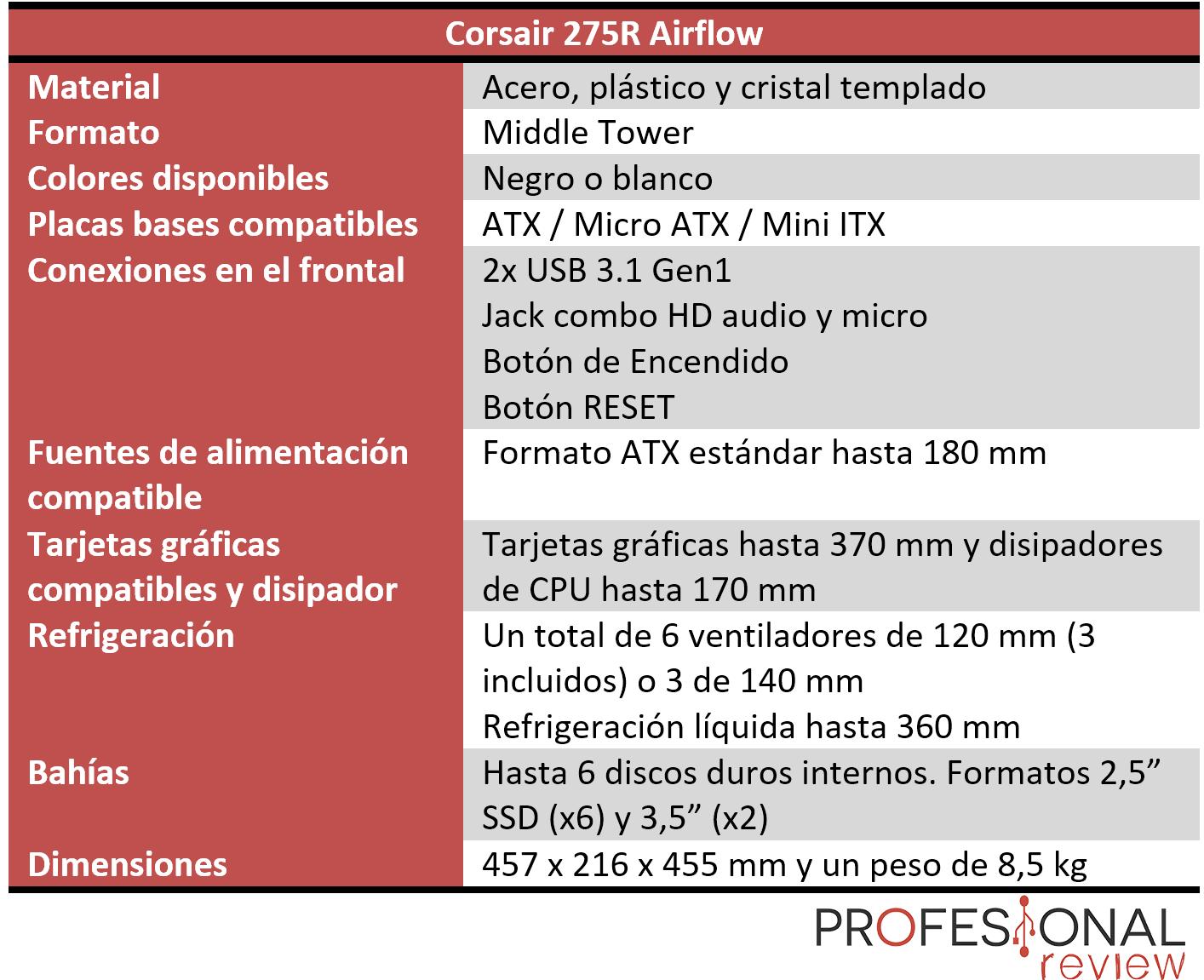 Corsair 275R Airflow características