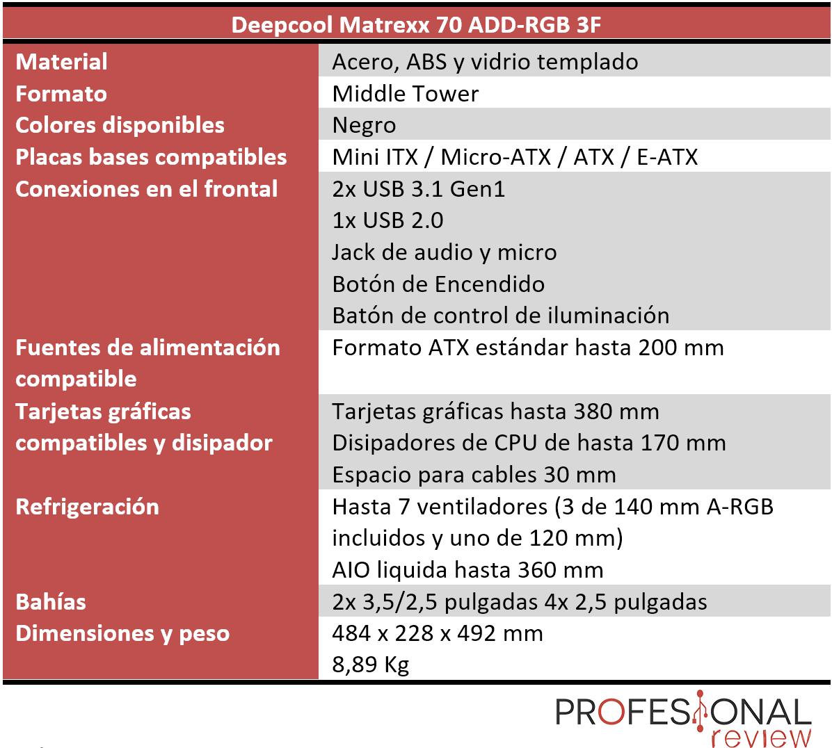 Deepcool Matrexx 70 ADD-RGB 3F características