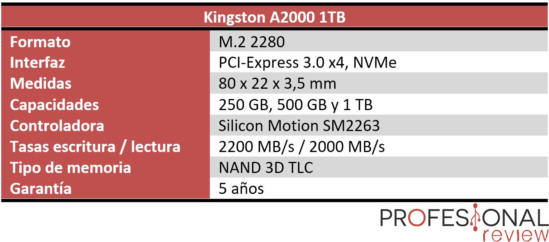 Kingston A2000 características