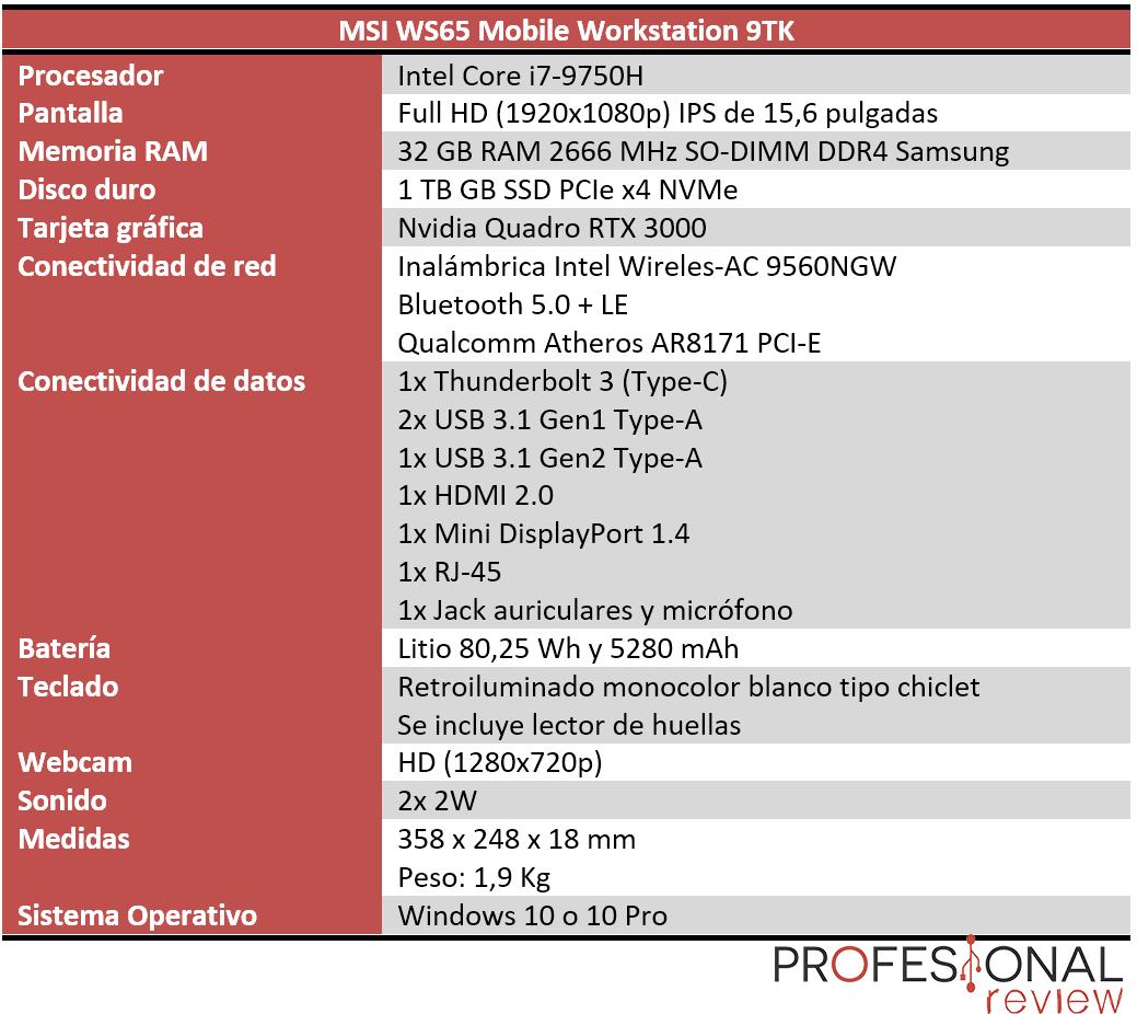 MSI WS65 9TK características