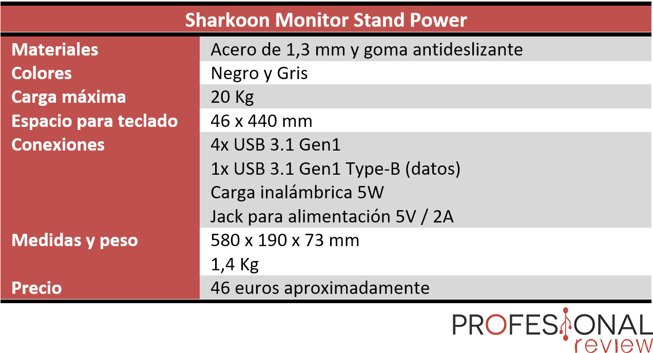 Sharkoon Monitor Stand Power caracteristicas