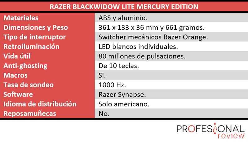 Razer Blackwidows Lite Mercury Edition características técnicas