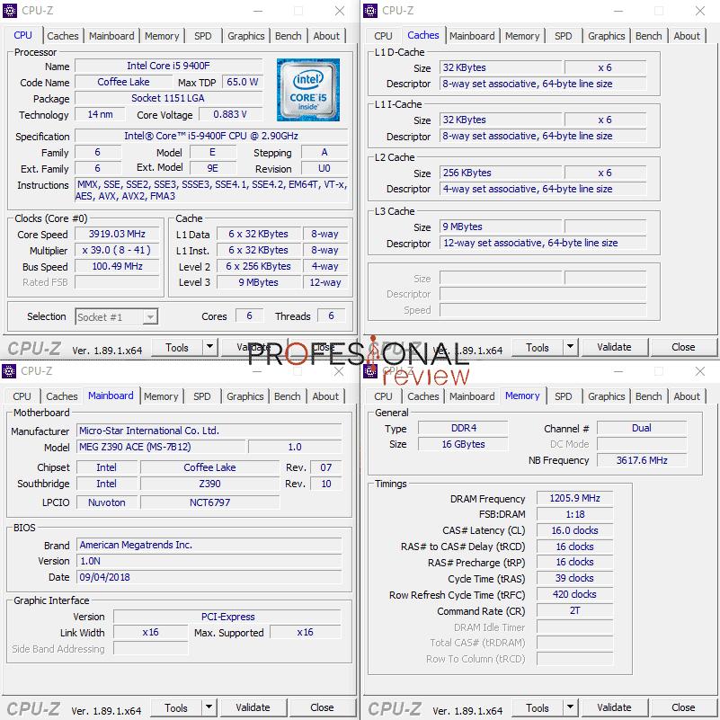 Intel Core i5-9400F Características