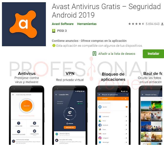 Mejor antivirus gratis android avast
