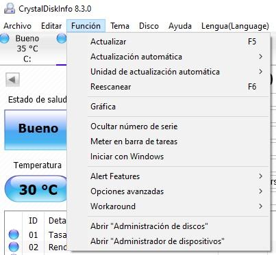 CrystalDiskInfo Función