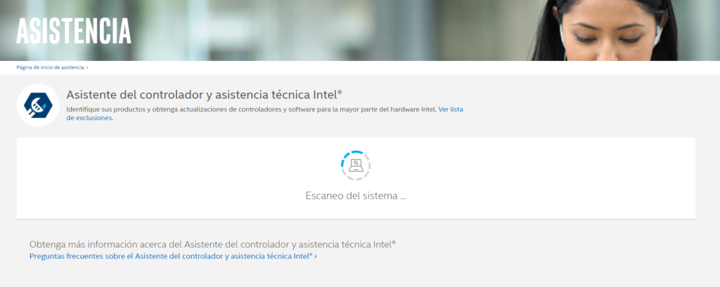 Intel Driver & Support Assistant cargando