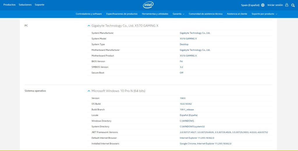 Intel Driver & Support Assistant información expandida