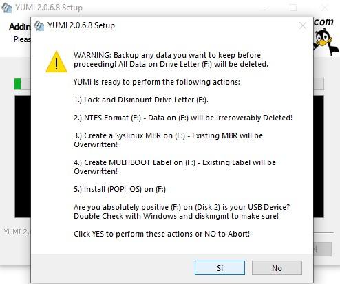 Formateo en USB YUMI