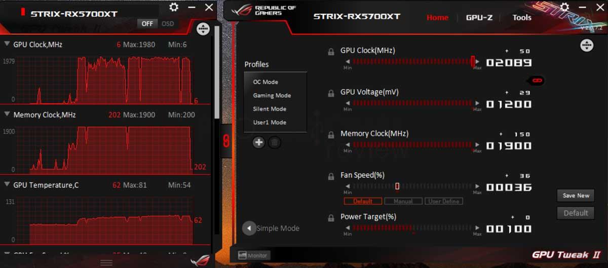 Asus ROG Strix RX 5700 XT Overclocking