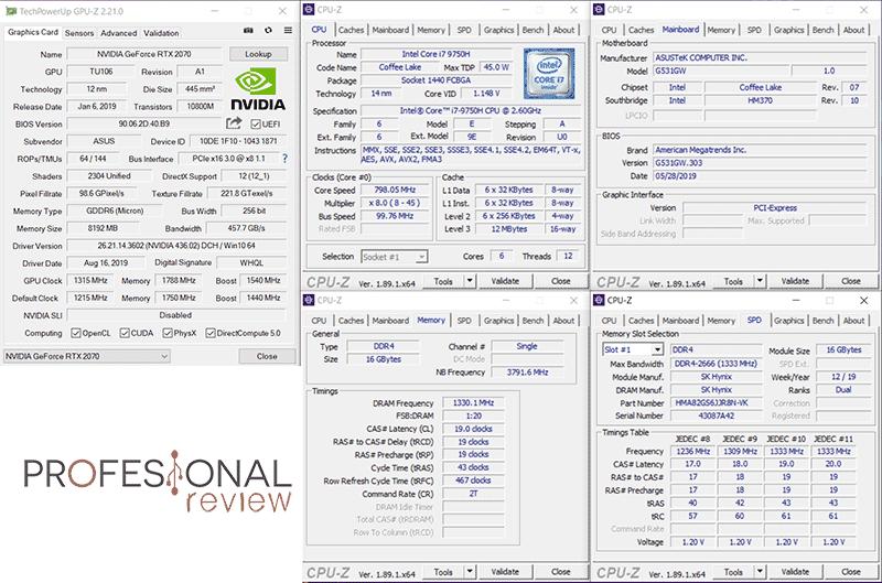 Asus ROG Strix SCAR III G531GW CPU-Z