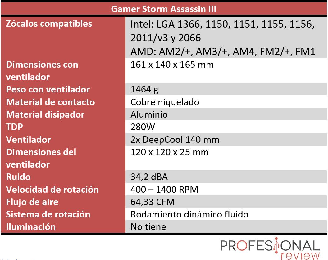 Gamer Storm Assassin III Características