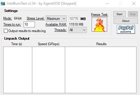Intel Burn Test pantalla principal