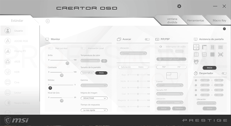 MSI Prestige PS341WU Creator OSD