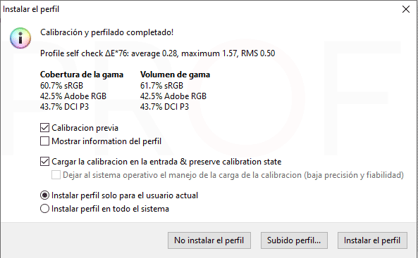 MSI GL75 9SEK Calibración