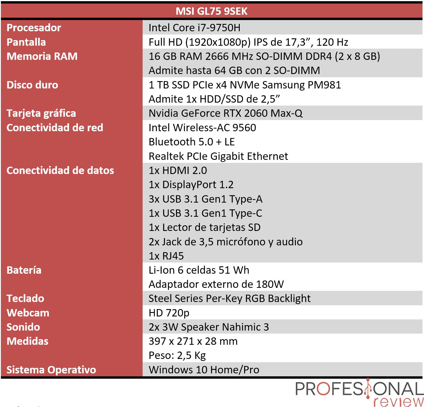 MSI GL75 9SEK Características