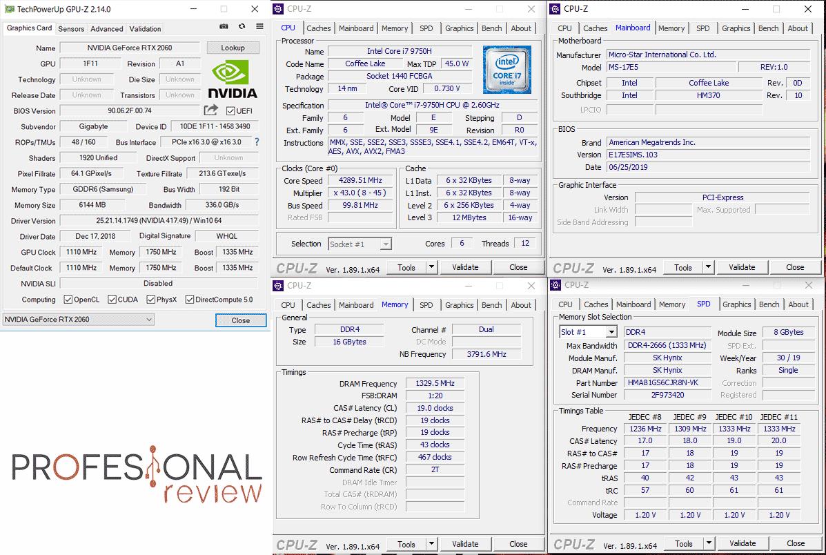 MSI GL75 9SEK benchmarks