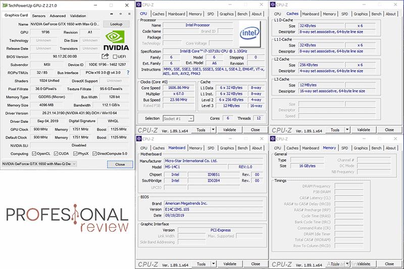 MSI Prestige 14 A10SC CPU Z