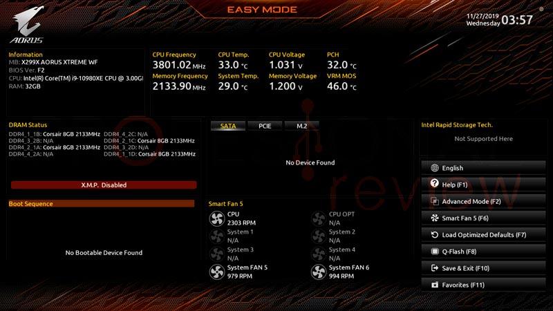 X299X AORUS XTREME Waterforce BIOS