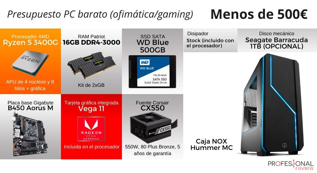Configuración PC Básica ryzen 3400G