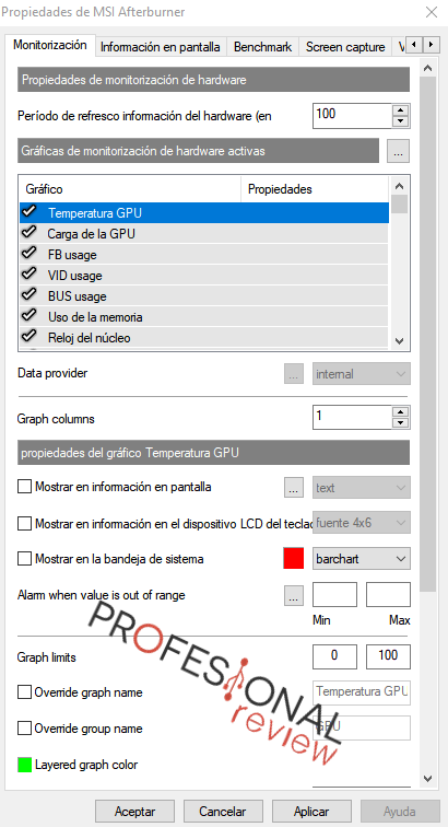 monitorización opciones