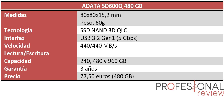 ADATA SD600Q Características