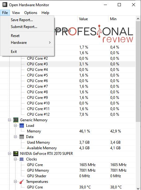 pestaña archivo Open Software Monitor