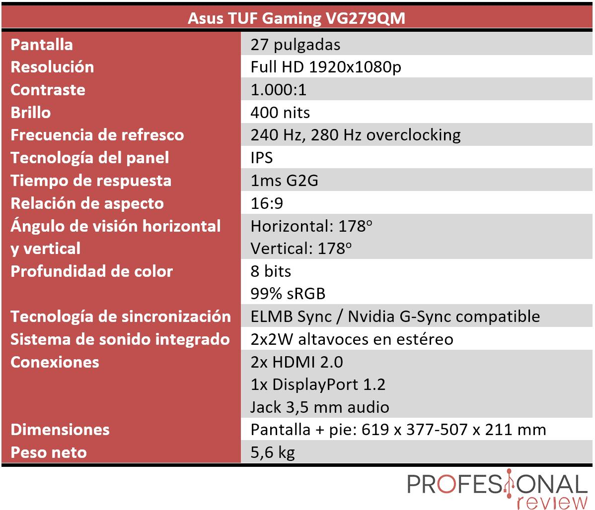 Asus TUF Gaming VG279QM características