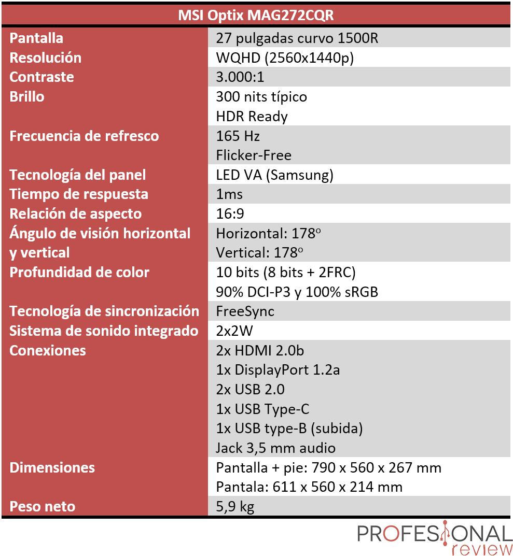 MSI Optix MAG272CQR Características