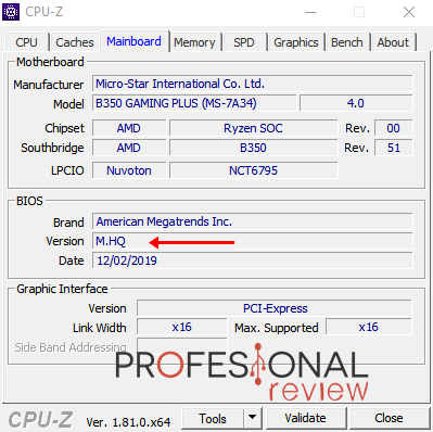 BIOS CPU-Z versión