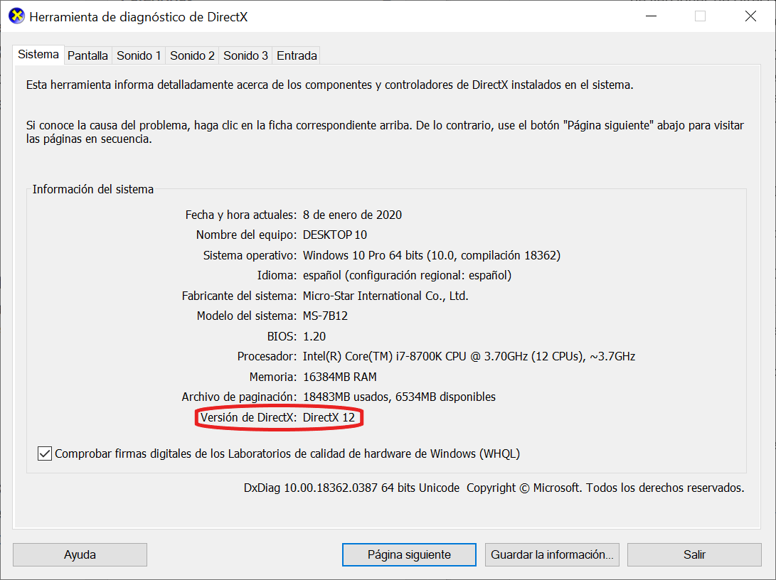 Versión de DirectX que tengo