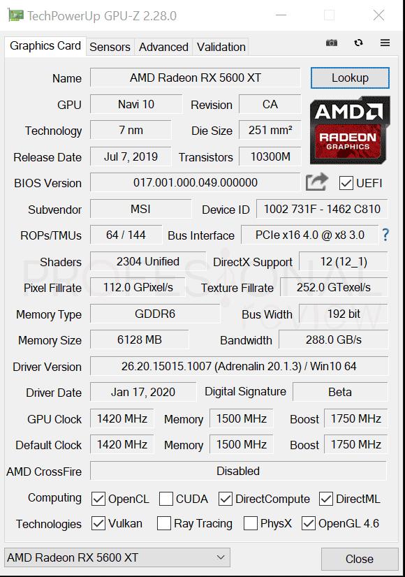 MSI RX 5600 XT Gaming X GPU-Z