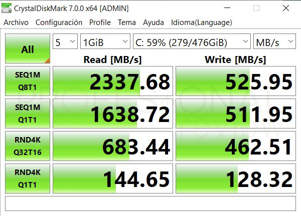 Asus ZenBook 15 UX534FTC SSD rendimiento