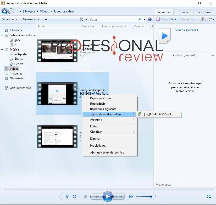 Windows media player transmitir