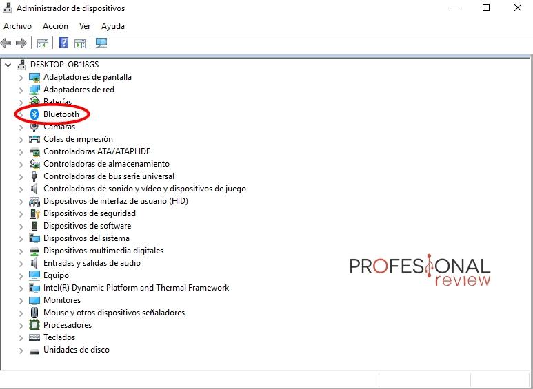 administrador dispositivos bluetooth