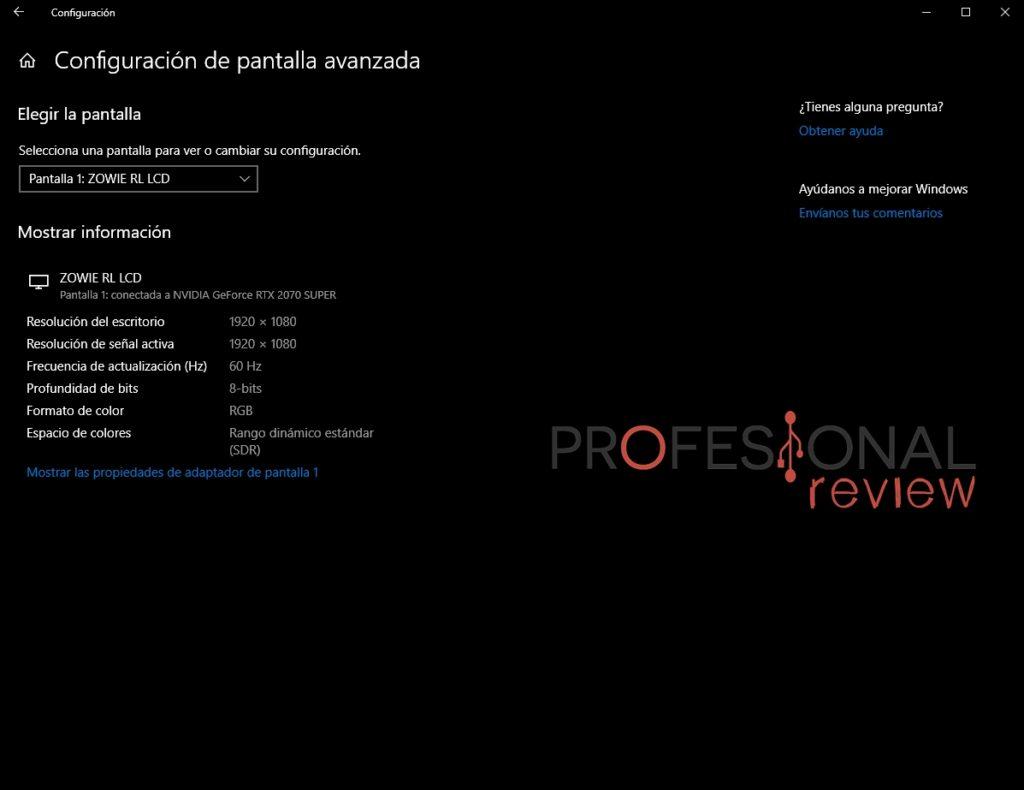 configuracion pantalla avanzada