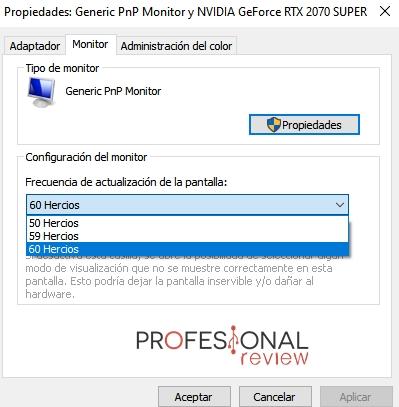 monitor frecuencia de actualización de la pantalla