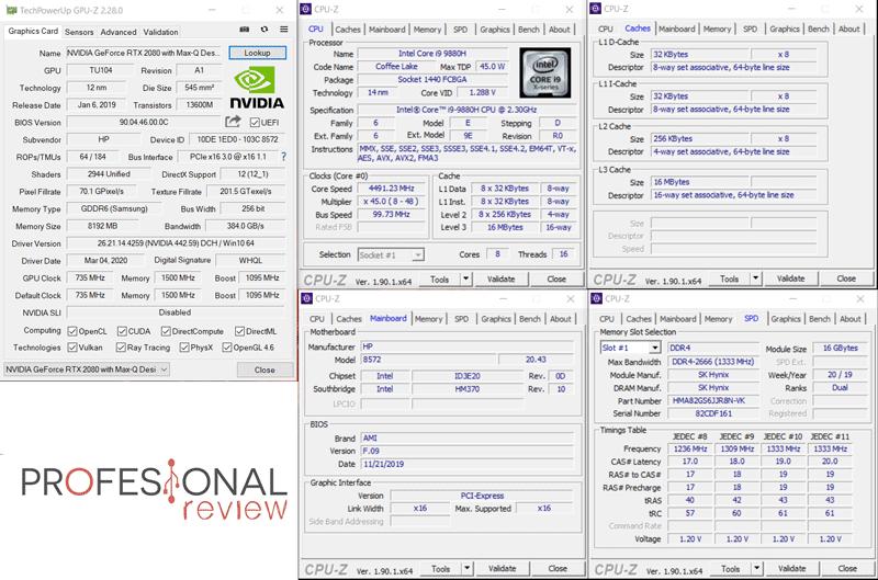 HP OMEN X 2S CPU-Z