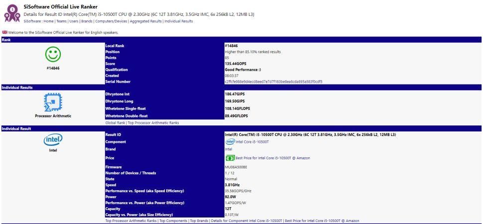 Intel Core i5-10500T e i7-10700T filtración