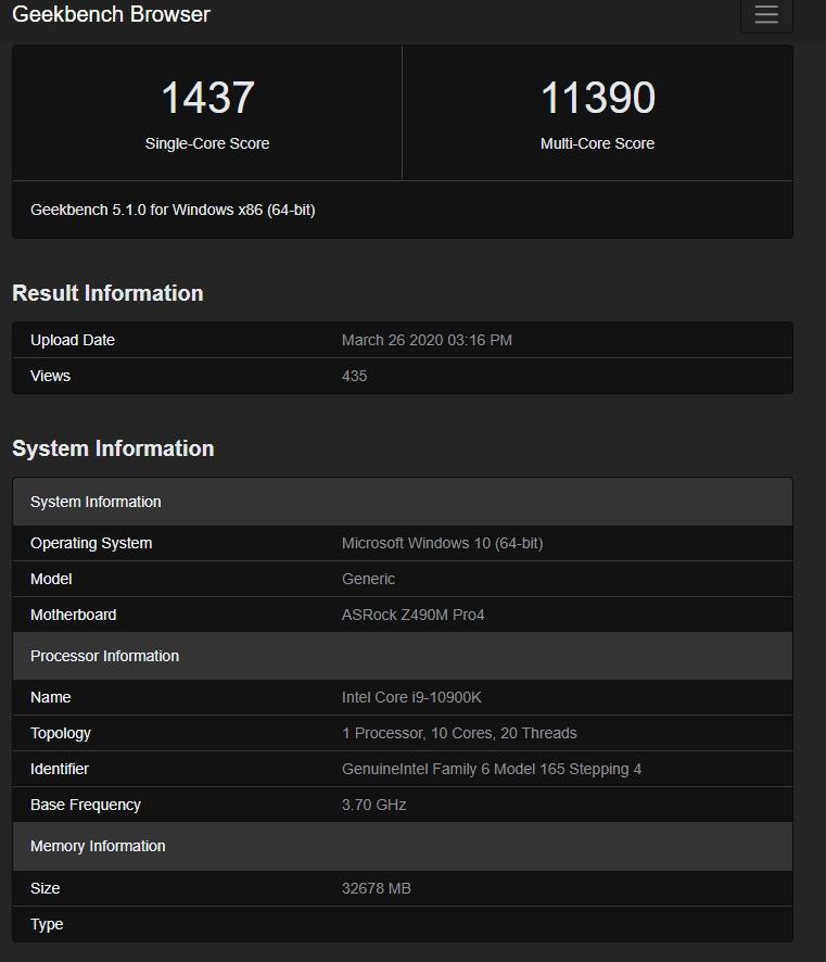 Intel Core i9-10900K geekbench