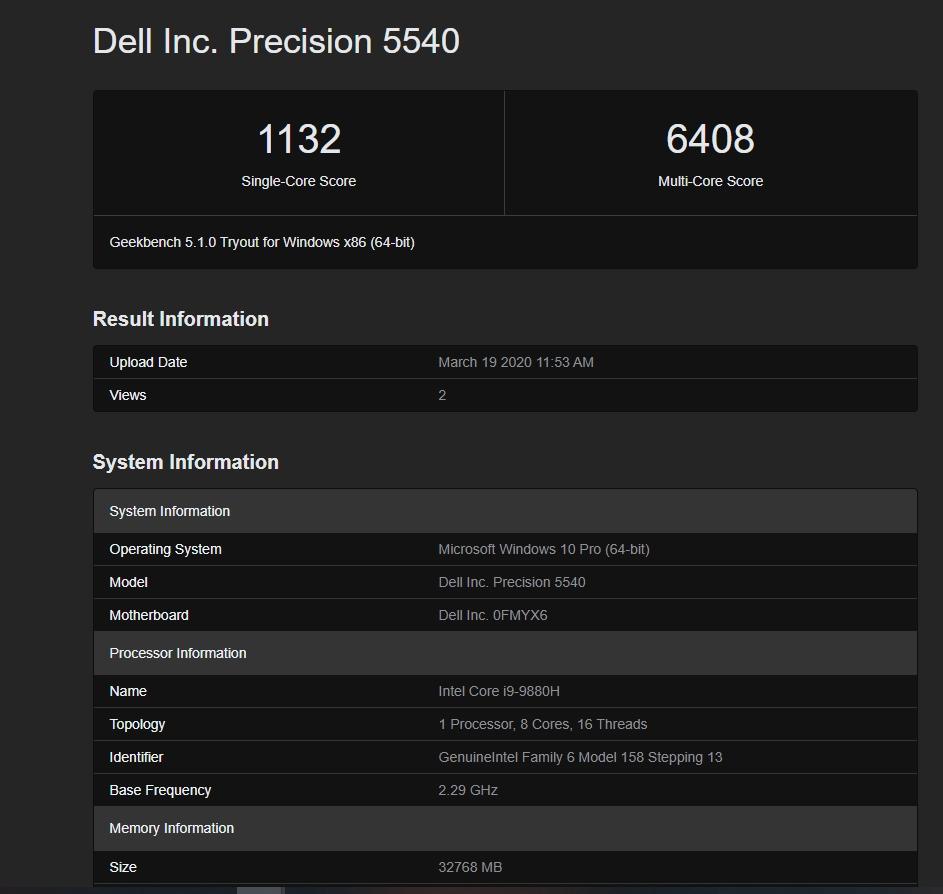 Intel i9-9880H geekbench