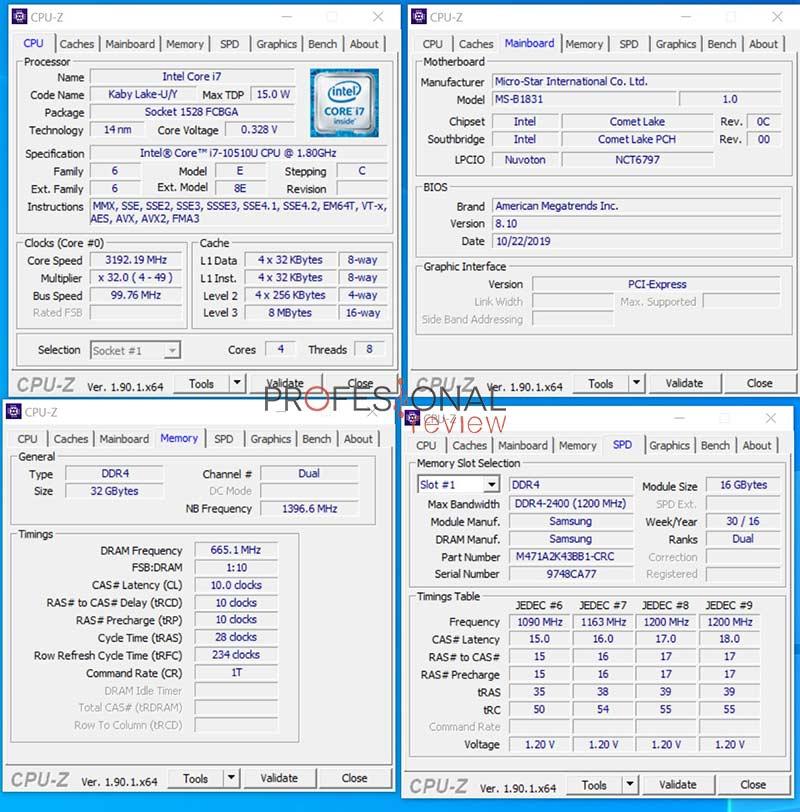 MSI Cubi 10M CPU-Z