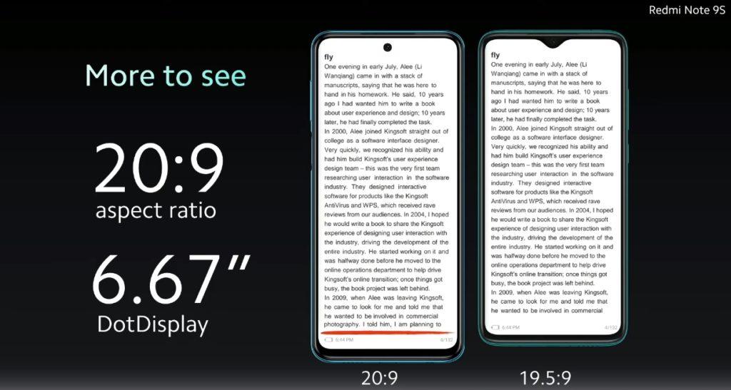 Redmi Note 9S pantalla