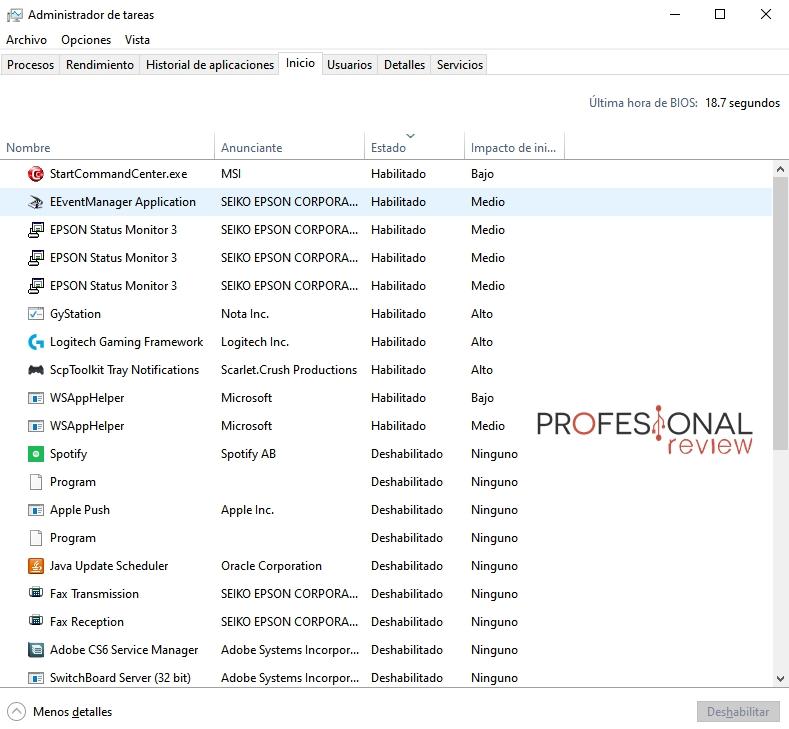 Spotify administrador de tareas msconfig