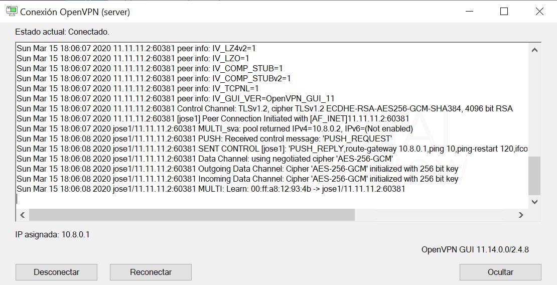Crear VPN con OpenVPN en Windows paso38