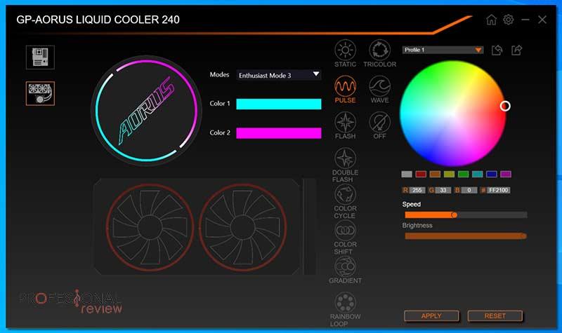 AORUS Liquid Cooler 240 Software