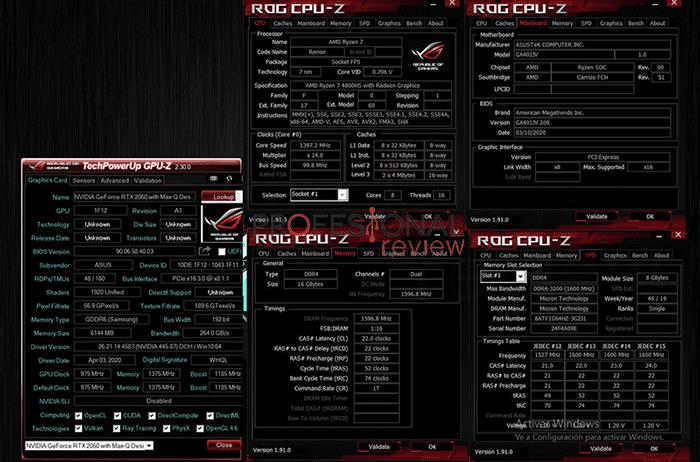 ASUS ROG Zephyrus G14 CPU-Z